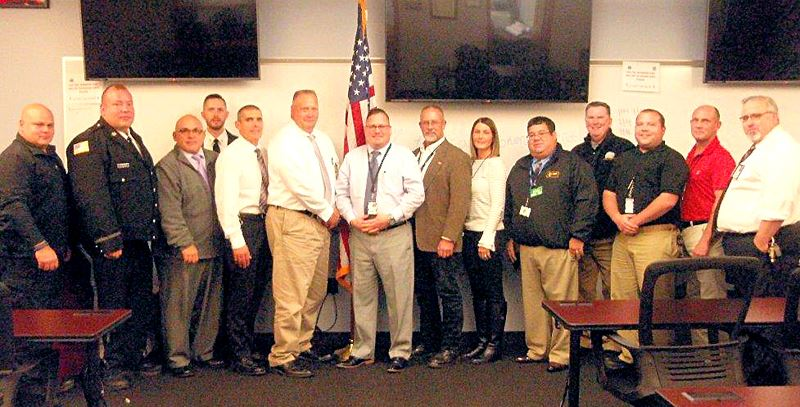Wayne County Officials pose during a meet-and-greet with SCI Waymart administrative staff.