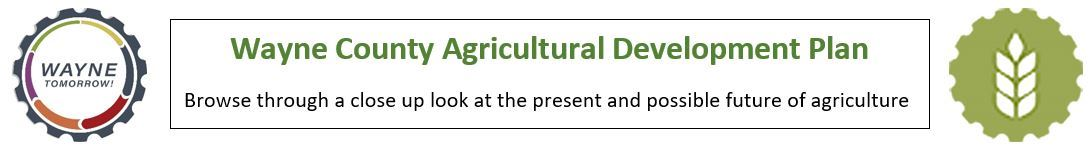 An image linking to the Agriculture Development Plan with logos for Wayne Tomorrow cog logo and agri