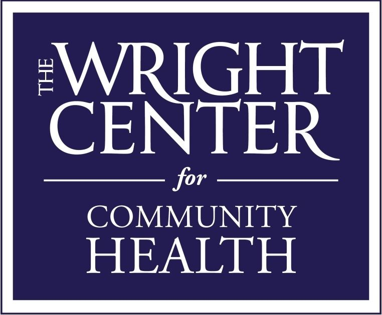 The blue & white logo for the Wright Center for Community Health.