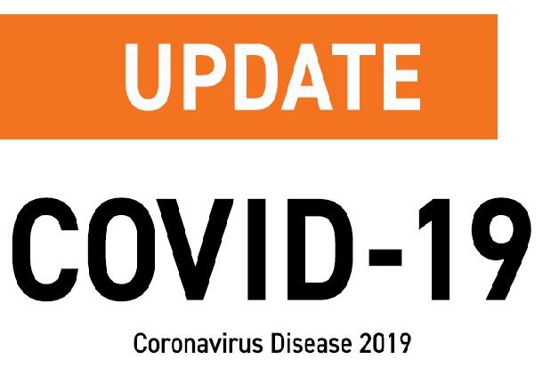 An image with an orange stripe on a white background with the words COVID-19 Reponse.