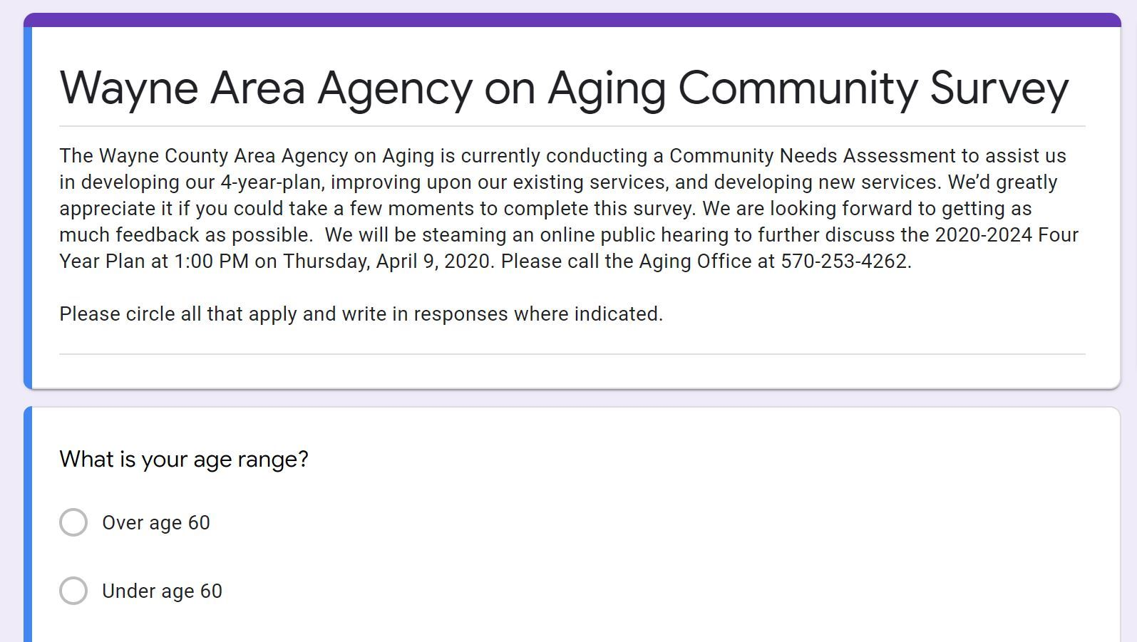 An image of the beginnig of the Area Agency on Aging's Community Surey.
