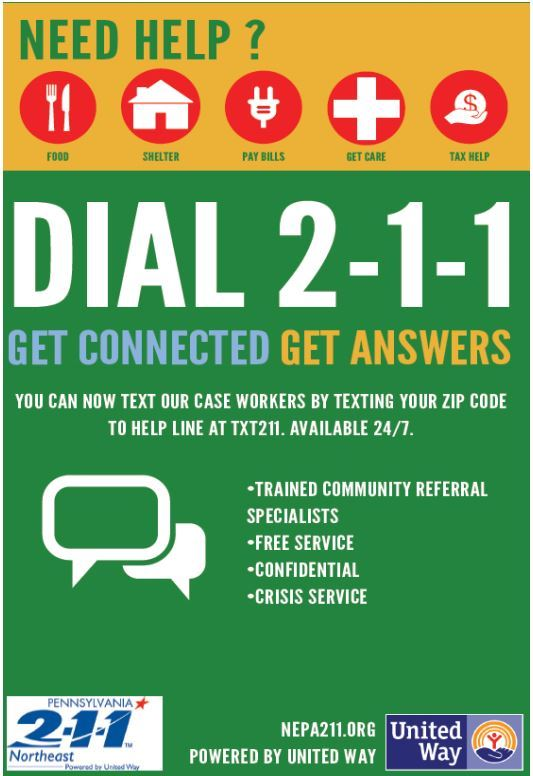 A poster promoting the 2-1-1 NEPA Information & Referall Services through the United Way.