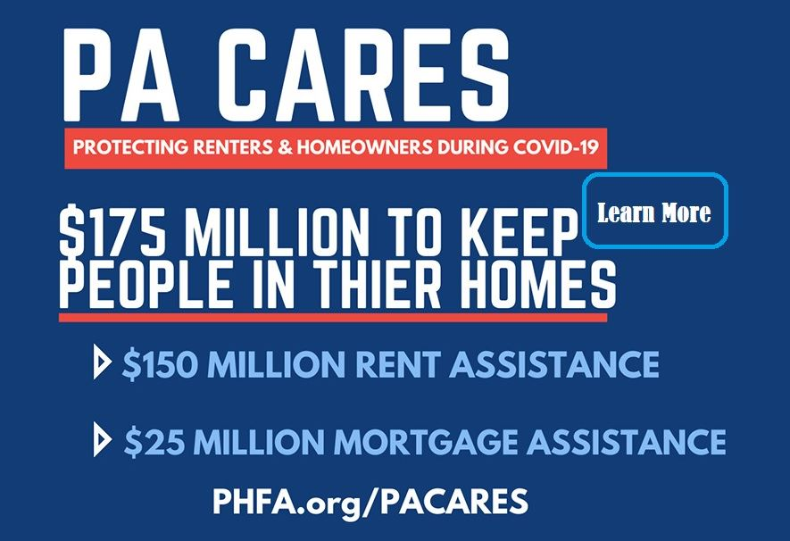 An image serving as a link to information and the forms to apply for rental assistance through PA CA
