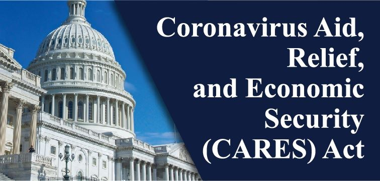 An image of Capitol Hill in Washington, DC, with the words Coronavirus Aid, Relief and Economic Secu