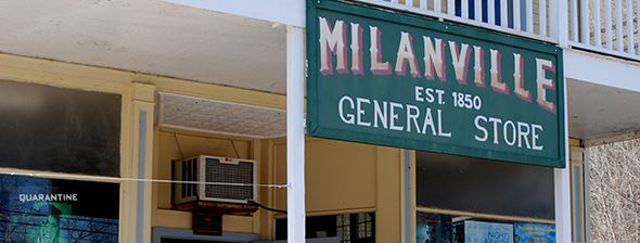 Storefront sign outside of Milanville General Store established 1850