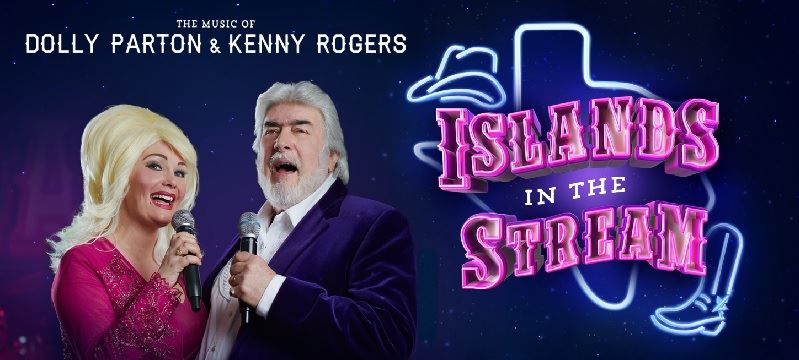 A picture of Dolly Parton and Kenny Rodgers look-alikes and the Islands In the Stream logo.