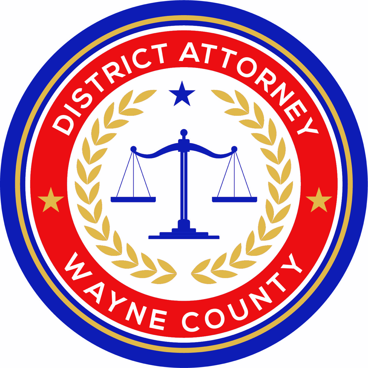 Wayne County District Attorney logo feature the scales of justice.