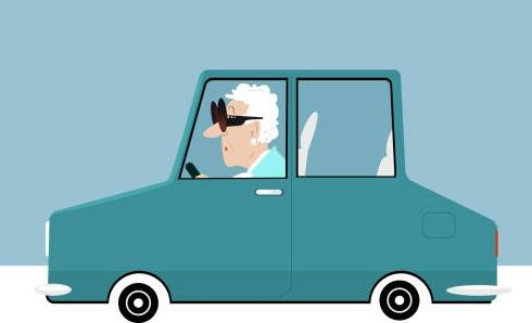 A cartoon image of an older woman in a car.